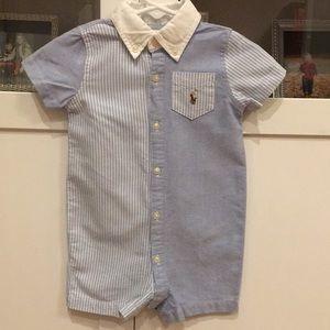 Ralph Lauren   Boy 9 Mths   Blue Stripe Romper
